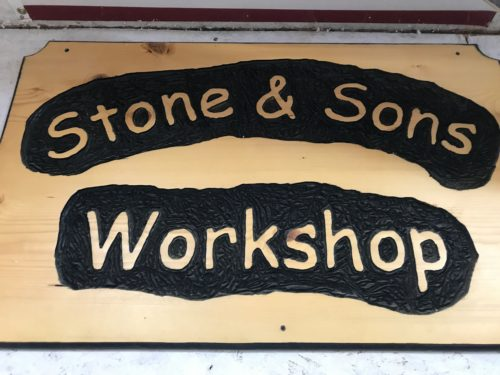 Custom Stone and Sons sign