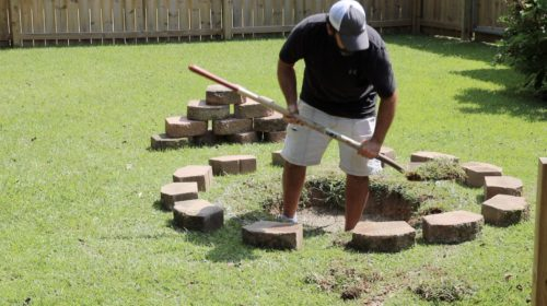 removing grass for the fire pit