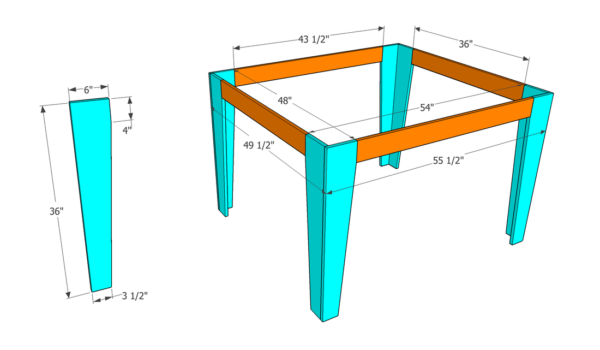 outfeed assembly table leg assembly