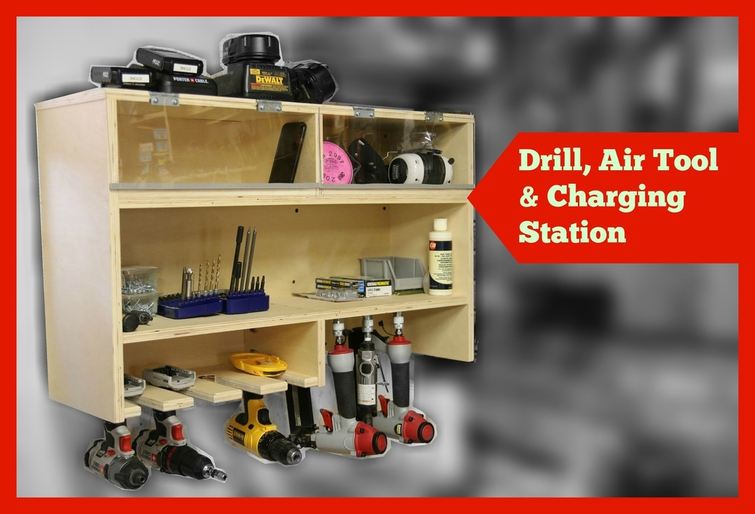 Drill Charging Station With Air Tool Storage And Dust Free