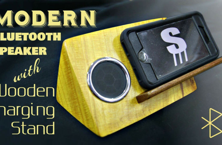 Modern Bluetooth Speaker with Wooden Charging Stand